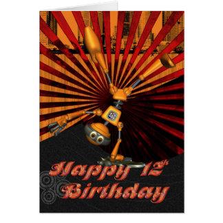 12th Birthday, Skateboard Robot Birthday Card
