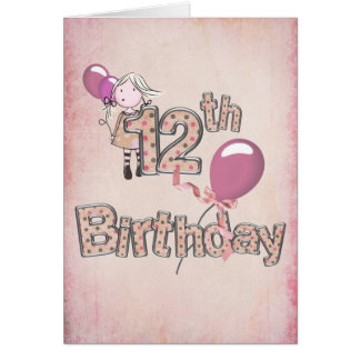 12th Birthday with girl holding pink balloons Card