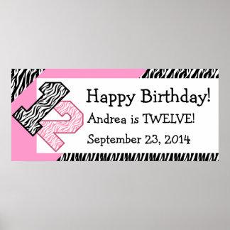 12th Birthday Zebra with Pink Custom Name V08 Poster