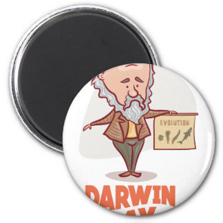 12th February - Darwin Day - Appreciation Day 6 Cm Round Magnet
