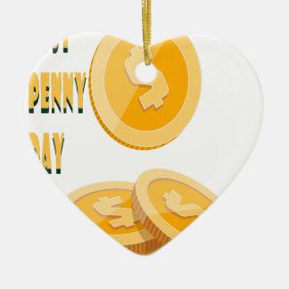 12th February - Lost Penny Day - Appreciation Day Ceramic Heart Decoration