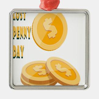 12th February - Lost Penny Day - Appreciation Day Silver-Colored Square Decoration