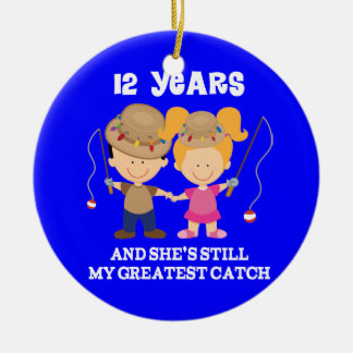 12th Wedding Anniversary Funny Gift For Him Ceramic Ornament