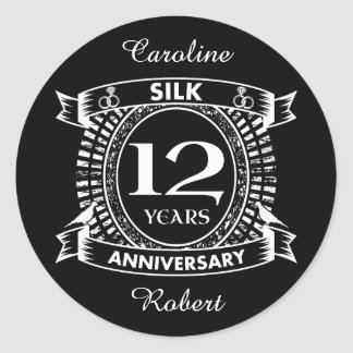12TH wedding anniversary silk Classic Round Sticker