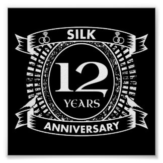 12TH wedding anniversary silk Poster