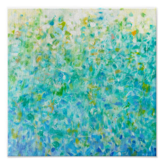 12x12 Abstract Turquoise Blue Light Yellow Print