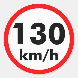 130 km/h round sticker