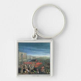 131-0057978/1 Riva degli Schiavoni, Venice Silver-Colored Square Key Ring
