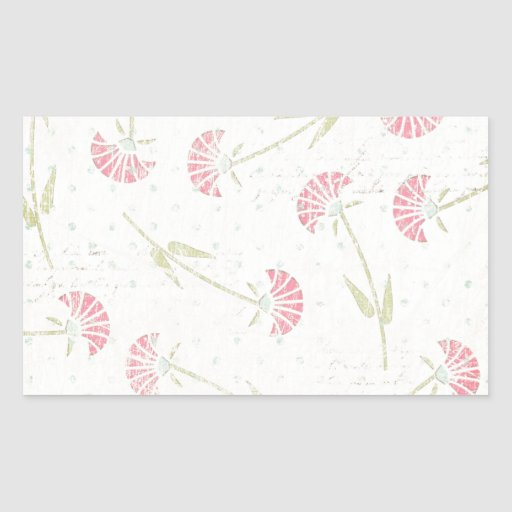 1328_floral20-grunge FADED RED GREEN FLOWERS PATTE Stickers