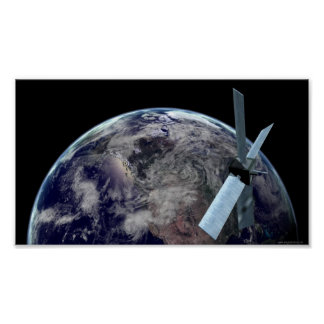 1379 EARTH GLOBE PLANET OUTER SPACE SATELLITE REAL POSTER
