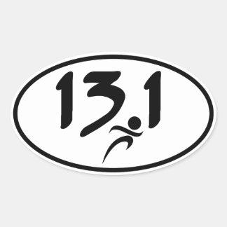 13.1 half-marathon oval sticker