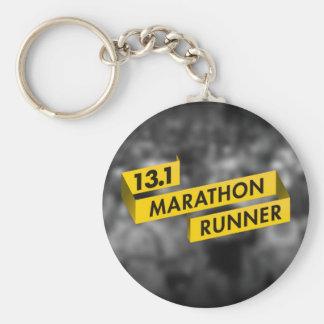 13.1 Marathon Runner Ribbon Yellow Basic Round Button Key Ring