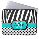 "13"" Aqua Black Zebra Stripes Polka Dot Laptop Case"