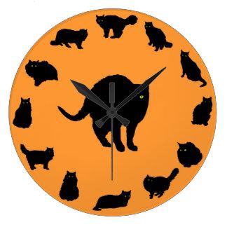 13 Black Cats Large Clock