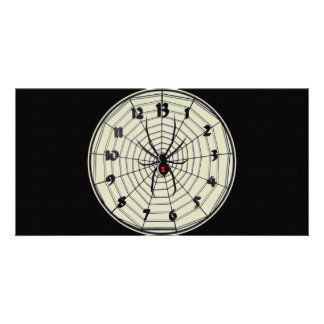 13 Hour Black Widow Clock in Frame Picture Card