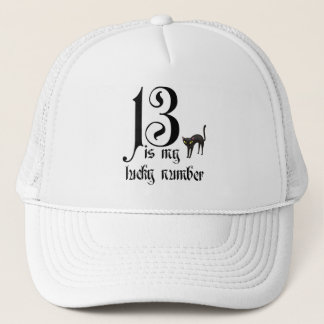 13 is my lucky number+black cat trucker hat