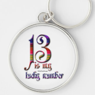 13 is my Lucky Number-Color Silver-Colored Round Key Ring