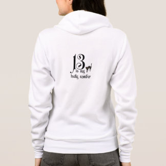 13 is my Lucky Number/with black cat Hoodie