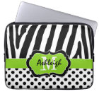 "13"" Lime Black Zebra Stripes Polka Dot Laptop Case"
