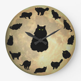 13 Lucky Cats and the Moon Large Clock