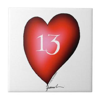 13 of Hearts Ceramic Tile