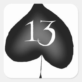 13 of spades square sticker