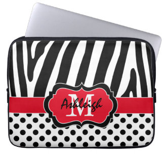 "13"" Red Black Zebra Stripes Polka Dots Laptop Case Laptop Computer Sleeves"