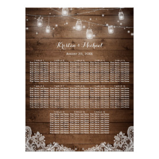 13 Tables Rustic String Lights Seating Chart Poster