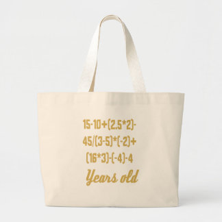 13 Years Old Algebra Equation Large Tote Bag