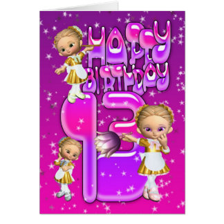13th Birthday Card cute little glitter maids