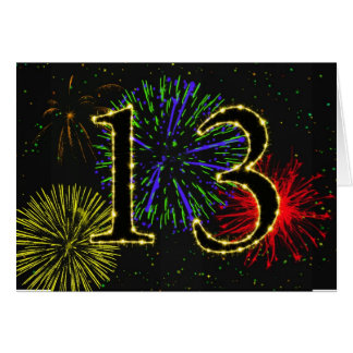 13th Birthday card with fireworks