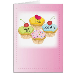 13th Birthday for Girl, Cupcakes on Pink Greeting Card