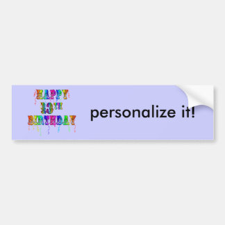 13th Birthday Gifts with Circus Balloon Font Bumper Stickers