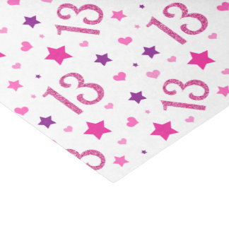 13th Birthday Girl Pink Glitter Tissue Paper