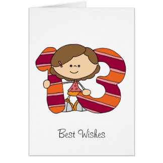 13th Birthday - Greetings Card - Girl