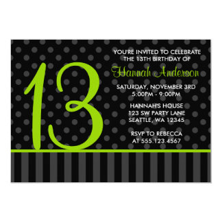 13th Birthday Lime Green Black Polka Dot Stripes 13 Cm X 18 Cm Invitation Card