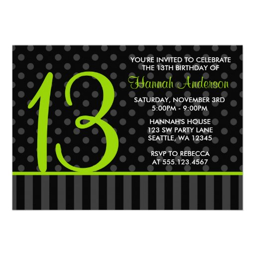13th Birthday Lime Green Black Polka Dot Stripes Announcements