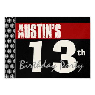 13th Birthday Modern For Him Red White Black W667 13 Cm X 18 Cm Invitation Card