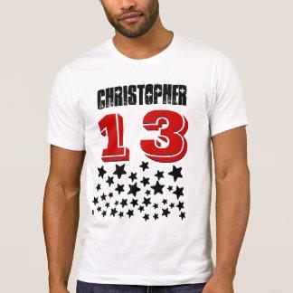 13th Birthday or ANY YEAR Burst of BLACK Stars V1A T-Shirt
