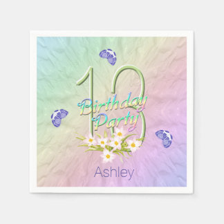 13th Birthday Party Butterflies and Wildflowers Disposable Napkin