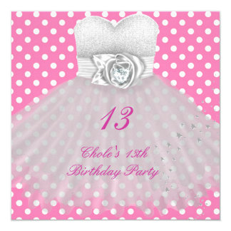 13th Birthday Party Girls 13 Teen 13 Cm X 13 Cm Square Invitation Card