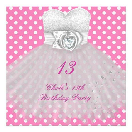 13th Birthday Party Girls 13 Teen Custom Invitation