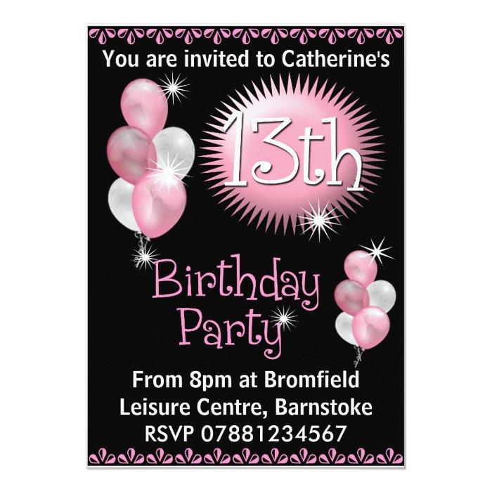 13th Birthday Party Invitation Zazzle