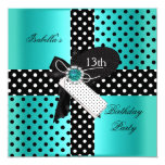 13th Birthday Party Polka Dots Teal Blue 13 Cm X 13 Cm Square Invitation Card