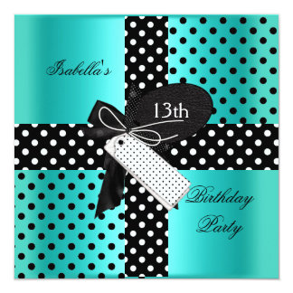 13th Birthday Party teenager girls 13 Cm X 13 Cm Square Invitation Card