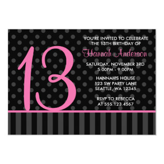 13th Birthday Pink and Black Polka Dot Stripes Card