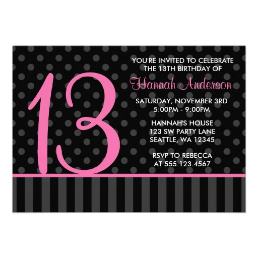 13th Birthday Pink and Black Polka Dot Stripes Invitations