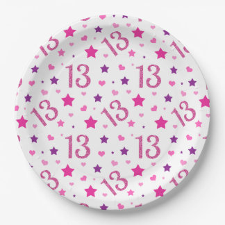 13th Birthday Pink Glitter Paper Plates