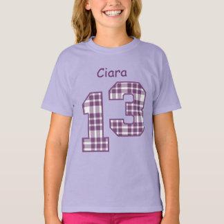 13th Birthday PLAID Custom Name V04 T-Shirt