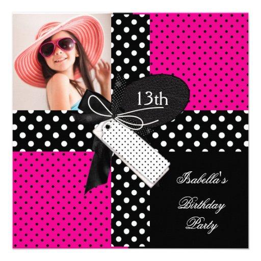 13th Birthday Polka Dot Hot Pink Black White Personalized Invitation